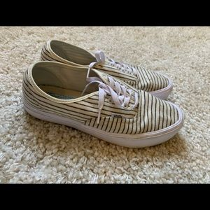 White and Blue Striped VANS